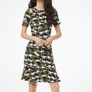Michael Kors Camouflage Flounce Dress